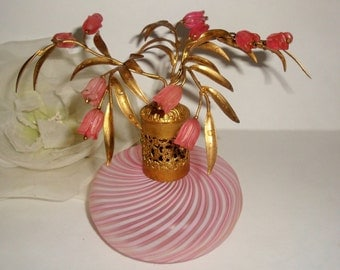 SALE Vtg DEVILBISS Pink Murano Candy Stipe Flowers Top Perfume Bottle  Italy Collectible Vanity Decor
