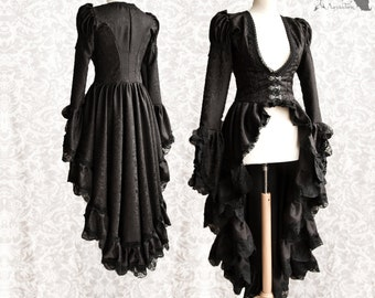 Victorian Steampunk cardigan, goth black satin robe, lace, Maeror, Somnia Romantica, size small, see item details for measurements