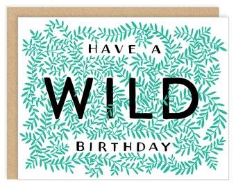 Wild Birthday Card Green Vines