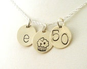 50th Birthday Gift for Her   50th Birthday Initial Necklace in Sterling Silver with a Cupcake