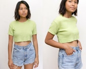 90s Ribbed Shirt / Ribbed Crop Top / Green Cropped Tee / 90s Grunge Vintage Shirt / Loose Oversized slouchy / Crop Short Sleeve Top Womens