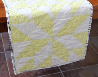 Lemon Yellow Table Runner, Quilted Table Runners, Table Topper