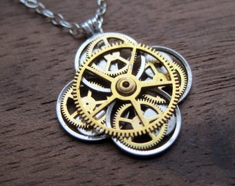 "Clockwork Flower Necklace ""Ager"" Elegant Recycled Watch Parts Gear Pendant Mechanical Plant Balance Wheel Petals Valentine's Day"