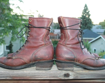 Vtg. Womens Leather Kiltie Granny Boots size 7 - 7.5
