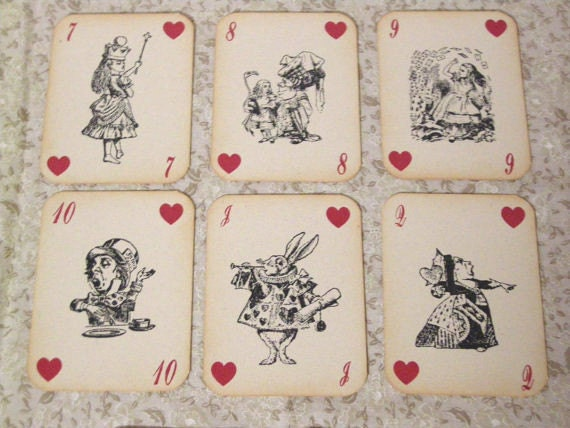 Alice in Wonderland Playing Cards - Set of 14 Cards - ephemera, vintage style, red queen, heart, white rabbit, mad hatter, cheshire cat