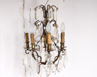 French Antique chandelier 18c Louis XV style bronze 6 arms-FREE SHIPPING