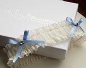 Amelie French Lace Wedding Garter Something Blue Garter
