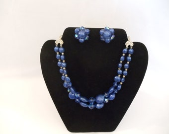 Vintage Costume Blue Double Strand Chunky Style Graduated Bead and Aurora Borealis Crystal Necklace, Earring Set