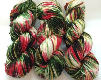 SALE, Light Worsted, DK, Superwash Merino, 100 grams, Hand Dyed Yarn, The Holly And The Ivy, double knitting,