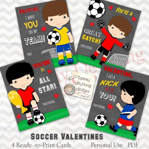 Soccer Valentine Cards for boys Valentines Day cards for – Valentines Cards for Boys