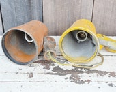 Vintage Natale Industrial Lights Set of 2 Two Orange Yellow Chippy Paint Heavy Metal Adjustable Spotlights Shop Farm Repair Repurpose