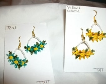 Flowers 2 pairs Teal N YellowOrange Earrings