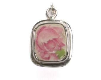 Broken China Jewelry Antique Pink Cabbage Rose Sterling Silver Charm
