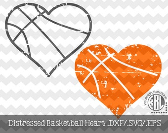 Basketball Heart Distressed INSTANT DOWNLOAD in dxf/svg/eps for use with programs such as Silhouette Studio and Cricut Design Space