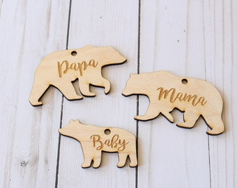 Mama Bear Ornament Papa Bear Ornament Baby Bear Ornament Bear Ornaments