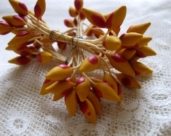 Orange Stamens Vintage Millinery Hat Trim French Hand Made Silk Artificial Flowers Ribbon Work Dolls House Basketry Miniatures Craft 18 Ps