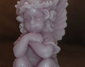 Lavender Cherub Candle ~ Pure Beeswax Cherub Candle ~ Lavender Beeswax Angel Candle ~ Raphael Style Cherub Candle