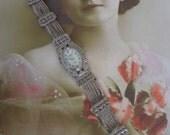 Ladies Vintage Geneva Brand Antique Silver Tone and Marcasite Wrist Watch