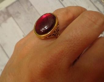 Vintage NOS Dark Red Glass Stone Ring in Antique Gold Tone Filigree Base, Adjustable