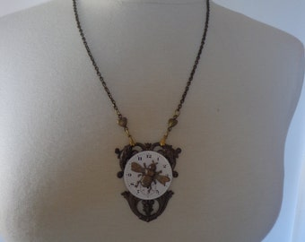 Victorian-Inspired Steampunk Necklace w/ Vintage Porcelain Watch Face in Antique Brass