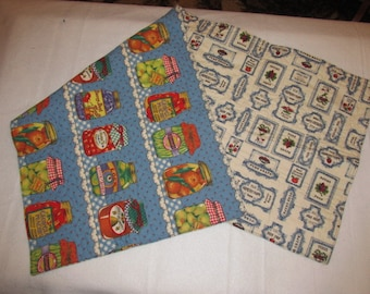 Handmade Quilted Table Runner Farmers Market Canned fruits vegetables reversible canning jars country summer spring
