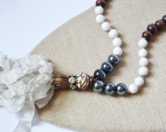 NEUTRAL RIBBON TASSEL Necklace Black White and Brown Beads Taupe Ribbon Tassel