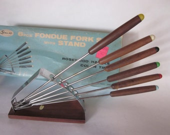 vintage rosewood fondue forks w/ stand  mid century modern, awesome