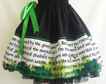 Emerald City skirt, Wizard Of Oz Skirt Book Skirt, literary skirts By Rooby Lane