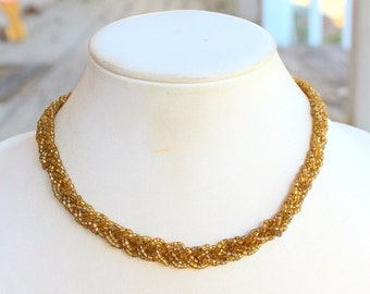 MOVING SALE Half Off Vintage Yellow Green Glass Seed Bead Woven Choker Necklace