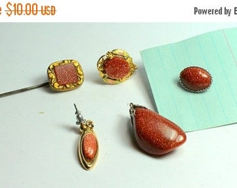 MOVING SALE Half Off Destash  Craft Lot of Nice Vintage and Salvaged Goldstone Jewelry Parts and Pieces