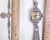 "vintage 50s Gold and Diamond Wrist Watch. Ladies Bulova 1956 La Petite ""H"" 14K White Gold & 6 Diamonds. Womens Dainty Mesh Bracelet Art Deco"