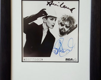Annie Lennox/Dave Stewart/Eurythmics Framed Signed/Autograph 8x10 Black and White Photo/Photograph