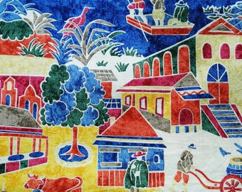 Vintage 1980s fabric in highquality unused cotton with X-large multicolor printed spanish village pattern motive