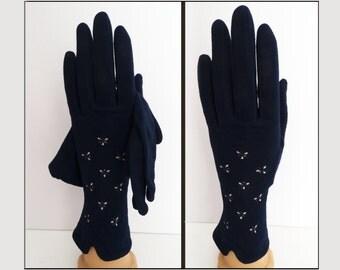 Vintage 1950s Gloves//50s Gloves//Navy Blue// Rockabilly//Mod//Wedding//Party//Prom