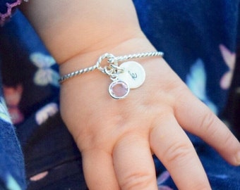 Charmed Baby Jewelry - Hand Stamped Mom and Daughter Matching Birthstone Bracelet Set - Gold Filled Sterling Silver - Newborn Jewelry Gift