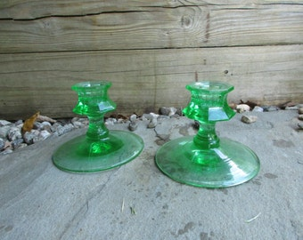 Green Glass Candle Holders Art Deco Vintage Octagon