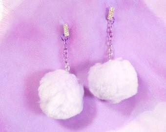 Lilac CHEERLEADER Pom Pom Earrings with Rhinestone Earring Posts & Multi-Color Purple Chain
