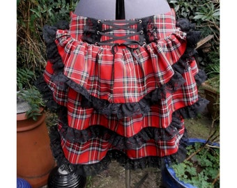 red tartan bustle skirt with black lace.  back corset style lacing any size any tartan plaid bustle skirt