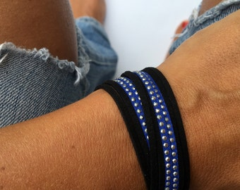 thin blue line bracelet double wrap. support police officers leow. blue suede with silver studs. lobster clasp.