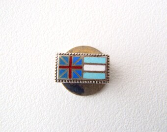 Small British Argentine 800 Silver Lapel Button Vintage Red Blue White Cloisonné Enamel Made in Argentina Signed Casa Escasany Union Jack