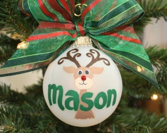 Reindeer Moose Personalized Name Ornament hand-painted and custom designed