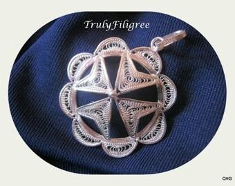 Handmade Sterling Silver Filigree Maltese Cross Pendant