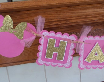 Minnie Mouse Pink Gold Glitter Birthday Banner, Minnie Mouse Banner, 1st Birthday Banner, Glitter Minnie Mouse Banner, Pink Polka Dots