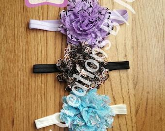 Adjustable Flower Headband Fits Newborn-Adult
