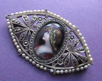 Summer Sale Antique French Silver Enamel Miniature Figural Brooch Art Nouveau Lady Marcasite Pin Circa 1920
