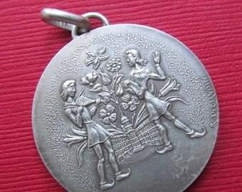 On Sale Vintage French Silver Toulouse Art Medal  Pendant By Raymond Tschudin Monnaie De Paris  SS369