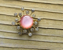 Vintage Pink Jelly Belly Vintage Costume Jewelry Atomic Age Snowflake Pin or Brooch