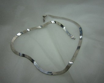 925 Silver Serpentine Choker Chain Necklace Italy