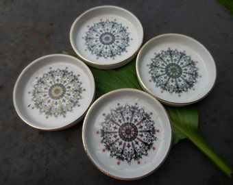 Vintage 1960s to 1970s Round White Ceramic Coasters Set of Four (4) Made in Japan Red/Green/Blue/Yellow Gold Trim