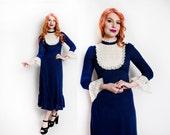Vintage 1970s Dress - Navy Blue Wool Lace Bib Maxi Babydoll Dress 70s - Small